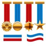 Premio stabilito della medaglia dorata con il ill dell'icona del nastro rosso e blu Fotografie Stock