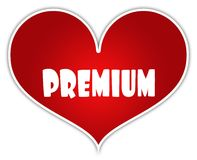 PREMIO sull'etichetta rossa dell'autoadesivo del cuore Fotografia Stock Libera da Diritti