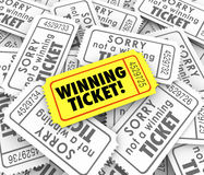 Premio unico di conquista di lotteria di tombola del vincitore del biglietto uno Fotografie Stock Libere da Diritti