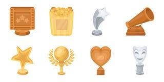 Premios de la película e iconos de los premios en la colección del sistema para el diseño libre illustration
