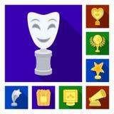 Premios de la película e iconos planos de los premios en la colección del sistema para el diseño El web de la acción del símbolo  Imagen de archivo