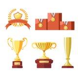Premios del premio de la taza de oro o del cubilete del campeón ilustración del vector