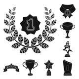Premios e iconos negros de los trofeos en la colección del sistema para el diseño La recompensa y el logro vector el ejemplo comú Imagen de archivo