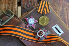 Premios y accesorios de la Segunda Guerra Mundial Fotografía de archivo libre de regalías