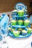 Première fête d'anniversaire de bébé garçon - ensemble de table Image stock