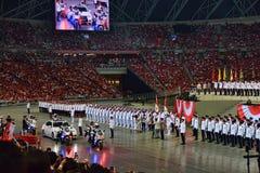 Premiärminister Arrival Singapore Ndp 2016 Arkivbilder