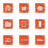 Premise icons set, grunge style. Premise icons set. Grunge set of 9 premise vector icons for web isolated on white background Royalty Free Stock Photography