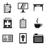 Premise icons set, simple style. Premise icons set. Simple set of 9 premise vector icons for web isolated on white background Royalty Free Stock Images
