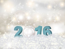The premise of the New Year 2016 in 3D. Greeting Card Happy New Year 2016.Blue numbers 2016 3D and Christmas balls in the snow stock illustration