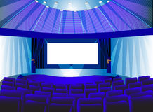 Premises blue theater with screen Stock Photo
