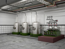 Premises for the distillation vessel. And equipment stainless steel machine. 3d illustration Royalty Free Stock Photos