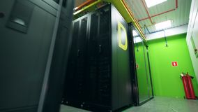 Premises of the server room with computer equipment. 4K stock video footage