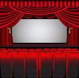Premises theatre with screen and chair Royalty Free Stock Images