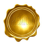 Premium. On a gold medal on a solid white background Stock Image