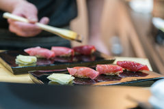 Premium Akami and Chutoro Sushi Tuna Sushi Stock Photos