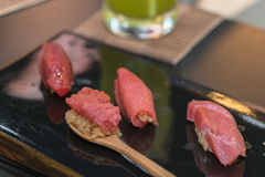 Premium Akami and Chutoro Sushi Tuna Sushi Stock Photo