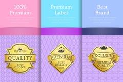 Premium Award Quality Offer Guarantee Promo Labels. 100 premium label best brand premium award quality offer guarantee promo golden labels set on brochures with stock illustration