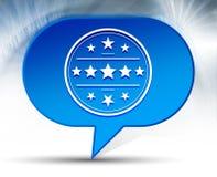 Premium badge icon blue bubble background. Premium badge icon isolated on blue bubble background stock illustration