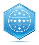 Premium badge icon crystal blue hexagon button. Premium badge icon isolated on crystal blue hexagon button stock illustration