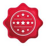 Premium badge icon misty rose red starburst sticker button royalty free illustration