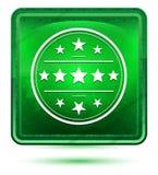 Premium badge icon neon light green square button stock illustration