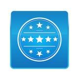 Premium badge icon shiny blue square button. Premium badge icon isolated on shiny blue square button stock illustration