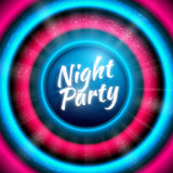 Premium banner template for club night party. Colorful abstract vector background with virbant blue-pink round sound waves and disco ball with light rays and Royalty Free Stock Photo