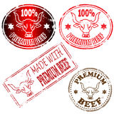 Premium Beef Stamp. 100 percent and made with premium beef rubber stamp illustrations Stock Image