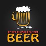 Premium beer mug barley vintage design poster Royalty Free Stock Photography