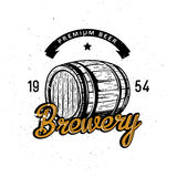 Premium beer symbol with high detailed wood barre. L in vintage style, lettering `Brewery`. Lager themed retro logo, badge, design Stock Images
