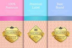 100 Premium and Best Brand Vector Illustration. 100 premium and best brand posters with golden label and text sample on different background above, vector Stock Images