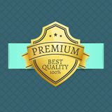 Premium Best Quality Award 100 Guarantee Vector. Illustration golden label on green background with rhombus elements, gold stamp design Stock Image