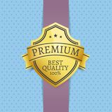Premium Best Quality Golden Seal Exclusive Label. Guarantee sign emblem vector illustration on blue dotted background, emblem with stars on purple ribbon Stock Photos
