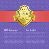 Premium Best Quality 100 Guarantee Golden Label. Award emblem isolated on purple poster with text. Vector illustration guarantee certificate with seal Royalty Free Stock Photos