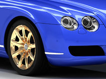 Premium blue car with gold wheels Royalty Free Stock Photo