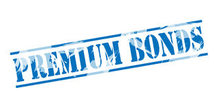 Premium bonds blue stamp. On white background Royalty Free Stock Image