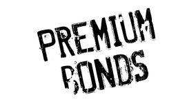 Premium Bonds rubber stamp. Grunge design with dust scratches. Effects can be easily removed for a clean, crisp look. Color is easily changed Stock Image