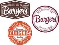 Premium Burger Restaurant Menu Design Stamps Stock Photos