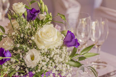 Premium catering arrangement with flowers and glasses. High class catering for e.g. a wedding, birthday or business meeting Stock Images