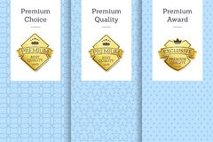 Premium Choice, Quality Award Vector Illustration. Premium choice, quality and award golden labels ornate with lines and icons of different crowns vector Stock Images