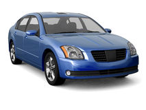 Premium class blue car front view Stock Photo