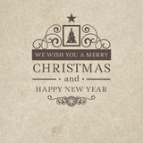 Premium class vintage retro flat style trendy Merry Christmas badge. And New Year wish greeting. Vector illustration with brown text inscription on scratched Stock Photo