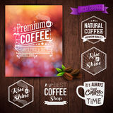 Premium coffee advertising poster and coffee beans. Set of typog Stock Image