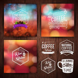 Premium coffee advertising poster and coffee beans. Royalty Free Stock Image