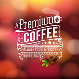 Premium coffee advertising poster. Typography design on a soft b Royalty Free Stock Photos