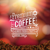 Premium coffee advertising poster. Typography design on a soft b Stock Photo