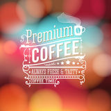 Premium coffee advertising poster. Typography design on a soft b Stock Images