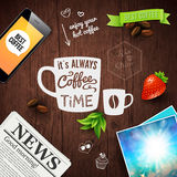 Premium coffee advertising poster. Typography design on a wooden Royalty Free Stock Photography