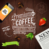 Premium coffee advertising poster. Typography design on a wooden Stock Photo