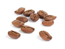 Premium coffee beans isolated on white background Stock Photography